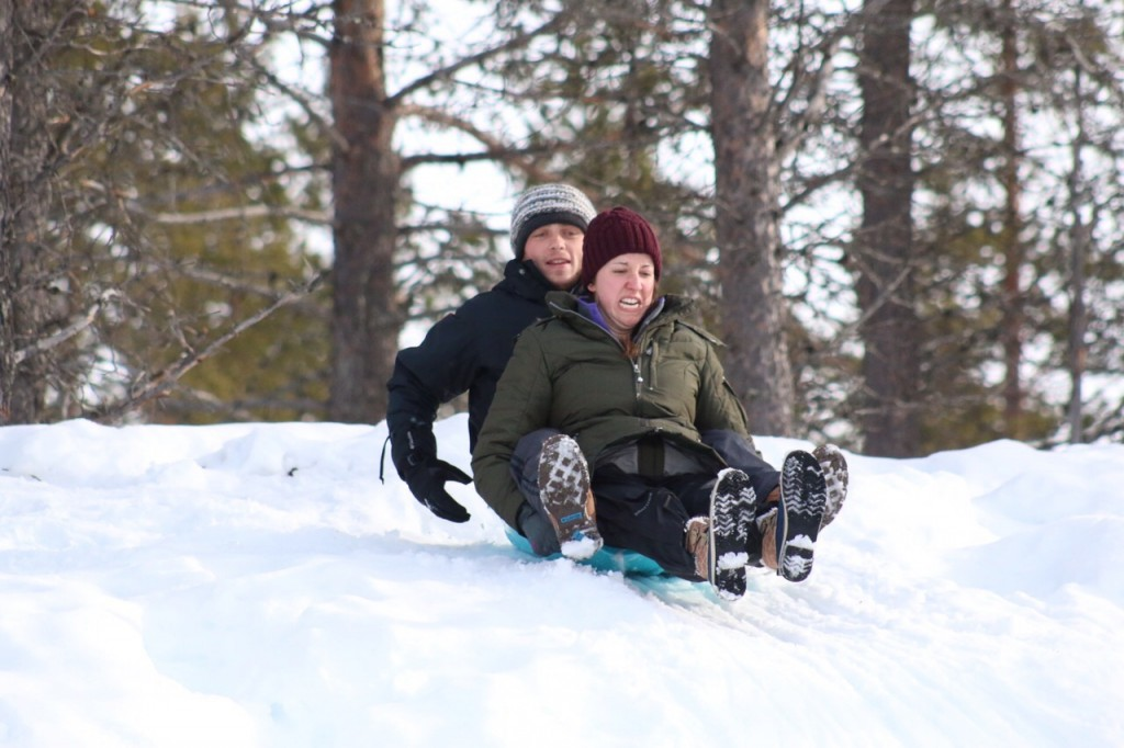 Not easy to look this good while sledding down a hill!