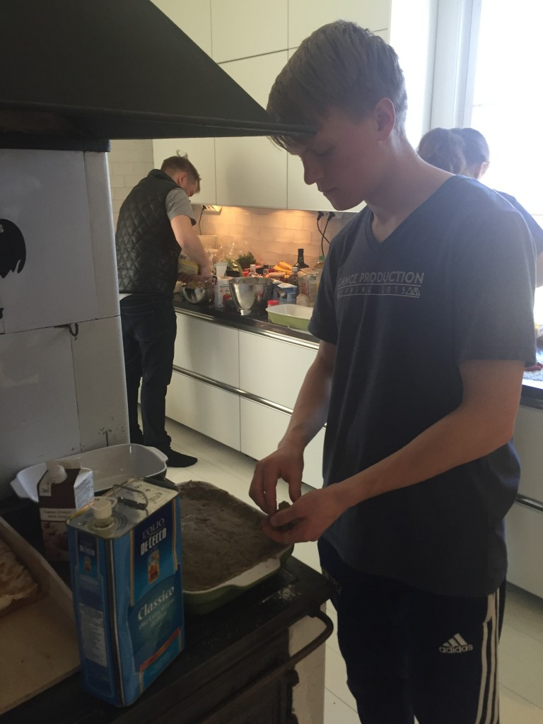 In addition to raking, the group also helped a professional chef (named Mika, wearing the black vest in this photo) prepare our delicious meals.