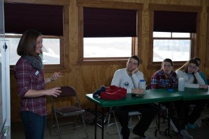 Julia, one of the Teton Science School graduate instructors, introduces the schedule to the students.