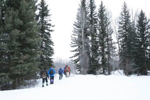 Snowshoeing out to the Snake River.