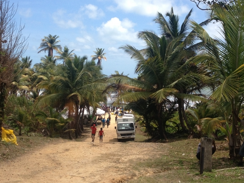 Walking down for our first glimpse of Matura Beach